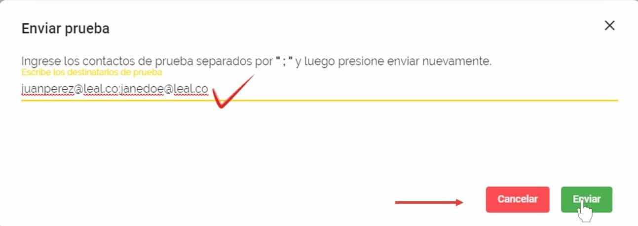 enviar prueba email marketing leal